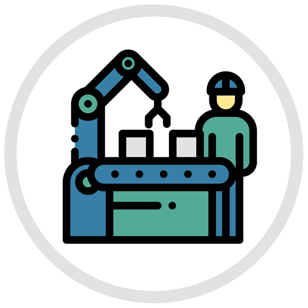 "Granite State Plastics ""Quality Control"" icon with robotic assembly line"