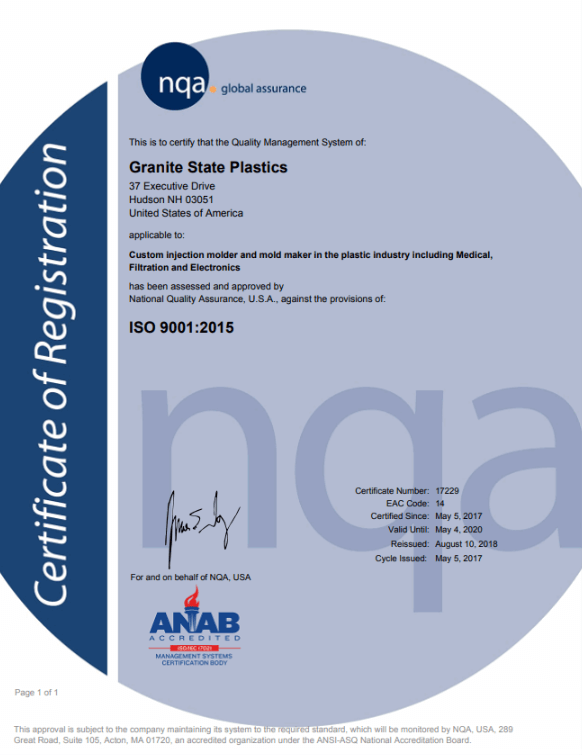 Granite State Plastics ISO 9001 Certificate